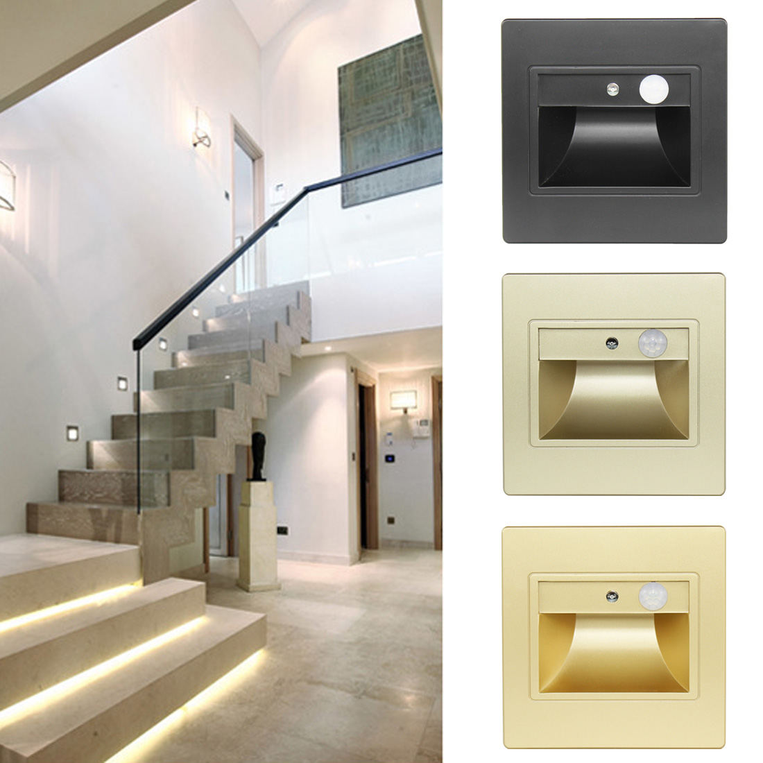 86 Type Motion Detector+ Light Sensor LED Stair Light LED Infrared Human Body Induction Lamp Recessed Steps Ladder Wall Lamp