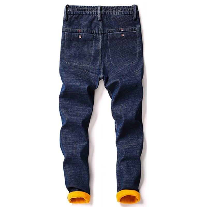 KSTUN Men's Jeans Winter Thick Warmer Fleece Heat Insulated Elastic Waist Slim Fitness Casual Denim Pants Students Boys Trousers 10