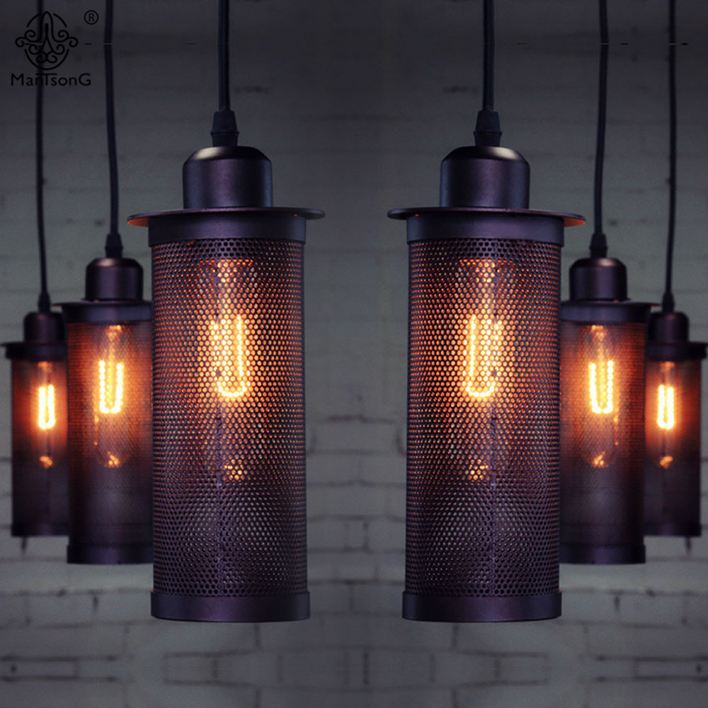 Pendant Lamp Retro Iron Art Net Edison Bulb E27 Black Hanging Industrial Light For Decor Restaurant Bar Cafe Interior Lighting loft industrial rust ceramics hanging lamp vintage pendant lamp cafe bar edison retro iron lighting