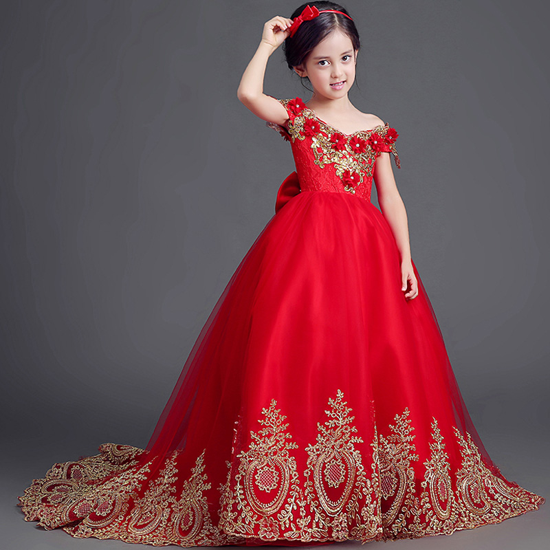 Embroidery Princess Girls Dresses 2018 New Mullet dress Girls Red Floral Party Costume With Bow Shoulderless Evening Dresses F63Embroidery Princess Girls Dresses 2018 New Mullet dress Girls Red Floral Party Costume With Bow Shoulderless Evening Dresses F63