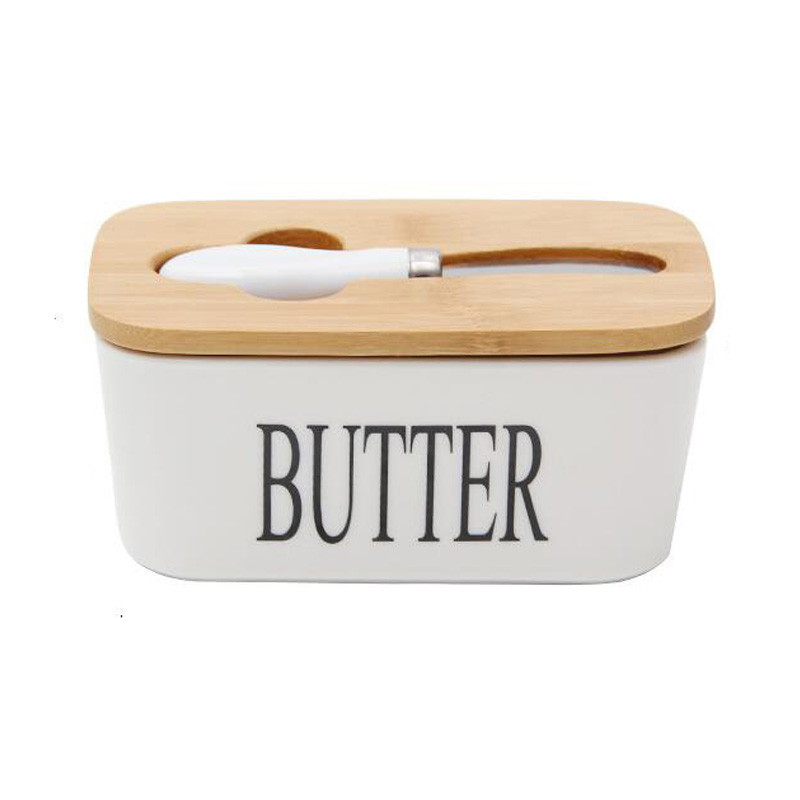 Nordic Butter Sealing Box,Ceramic Butter Plate,White,with Wood Lid and Knife,Cheese Storage Tray Butter Dish(China)