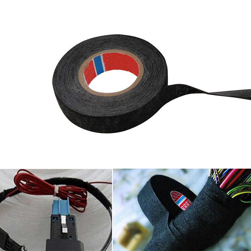 1x Roll of Heat-resistant Wiring Insulating Tape Looms Wiring Harness Cloth Fabric Car Self-Adhesive Cable Protection 4 Sizes