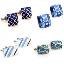 Hot Sale Blue Color Enamel Cufflink Cuff Link Free Shipping cheap Tie Clips Cufflinks Fashion Cuff Links YH011 Stone Classic Simulated-pearl Stainless Steel Various