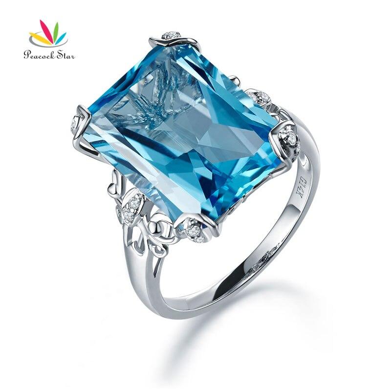 Peacock Star 14K White Gold Luxury Wedding Anniversary Ring 13 Ct Swiss Blue Topaz Diamond