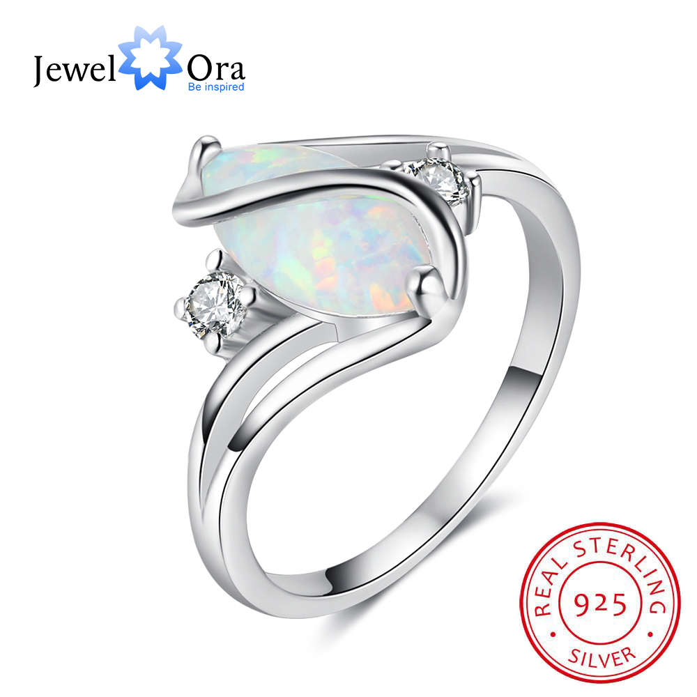 цена Oval Milky Opal Stone Soild 925 Sterling Silver Ring With Cubic Zirconia Party Jewelry Elegant Gifts For Her (JewelOra RI102942)