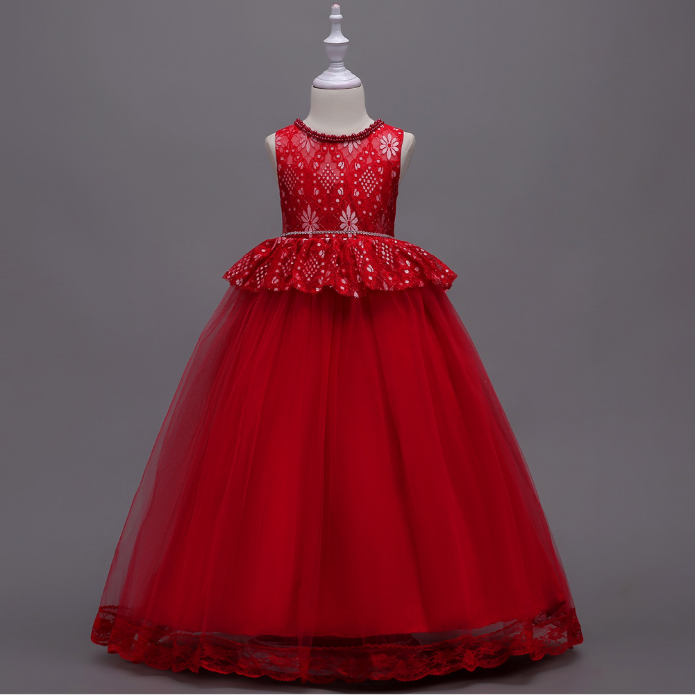 Long Princess Dress For Teen Girls Clothing Lace Flower -4698