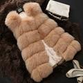 2016 Invierno Faux Fur Coats Mujeres de La Manera Chaleco de piel de Zorro sin mangas Espesar Caliente Color Sólido Chaleco Largo de Alta Calidad S-XXL CH09