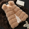 2016 Winter Faux Fur Coats Women Fashion Fox Fur Vest Sleeveless Thicken Warm Solid Color Long Waistcoat High Quality S-XXL CH09