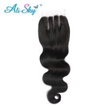 [Ali Sky] Hair Brazilian Body Wave Hair Lace Closure 4*4 Three Part Closure 100% Human Hair Shipping Free natural black 1b