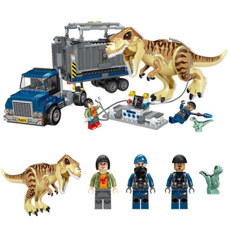 Jurassic 2 World Park T. Rex Transport Building Blocks Kit Bricks Sets Classic Movie Model Kids Toy Gift Compatible with Legoing mini jurassic world park fossil triceratops raptor skeleton building blocks sets bricks kids model kids creator toys marvel city