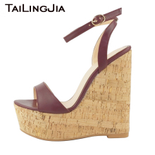 Wedge Heel Women Summer Wine Red Sandals High Heel Ankle Strap Platform Woman Shoes Open Toe High Quality Brand Plus Size 2019 high quality white suede fringed high heel sandals 2015 sexy open toe ankle strap sandals summer high heel sandals