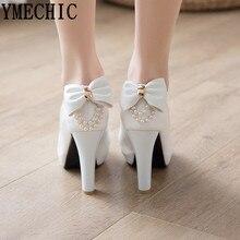 YMECHIC 2019 Beyaz Düğün Ayakkabı Gelin Kadınlar Yüksek Topuk Pompaları Peep Toe Slip Papyon Dize Boncuk Bayanlar Yüksek Topuklu Ayakkabılar artı Boyutu