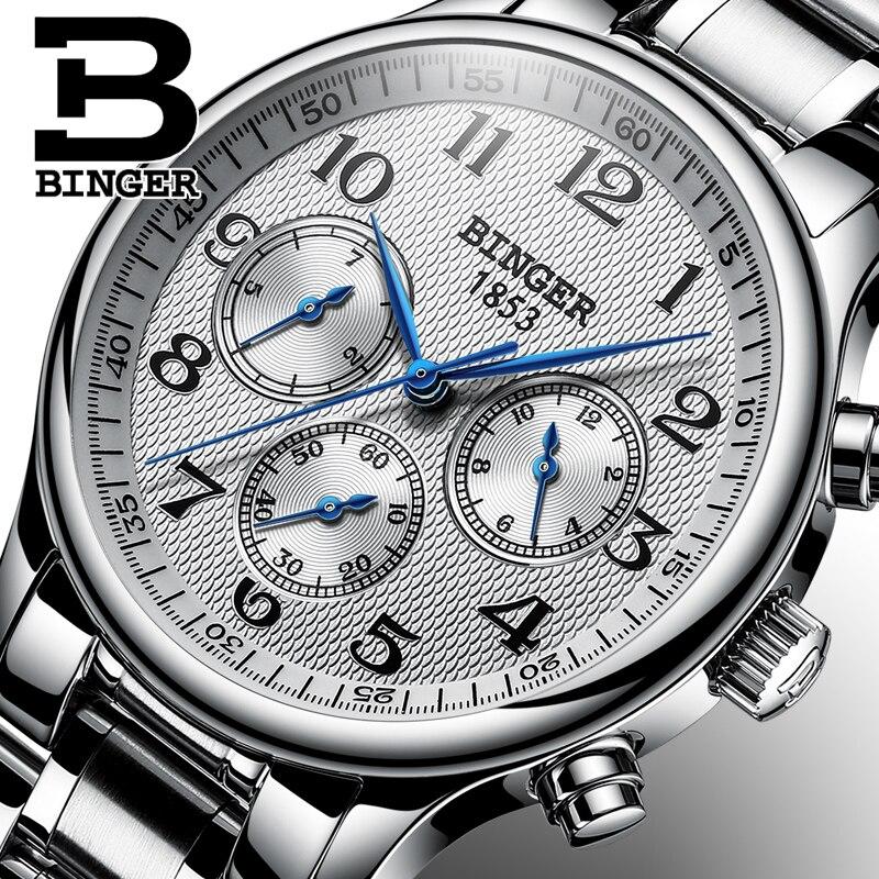 Szwajcaria BINGER zegarek męski automatyczne mechaniczne zegarki na rękę zegarek mężczyźni luksusowa marka Sapphire japonia ruch reloj hombre w Zegarki mechaniczne od Zegarki na  Grupa 1