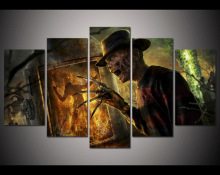 5 panel large HD printed canvas painting kombat horror poster canvas print art home decor