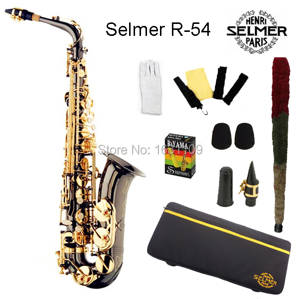 Cheap Brand New France Selmer Alto Saxophone R54 Professional E Black Nickel Gold Sax mouthpiece With Case and Accessories