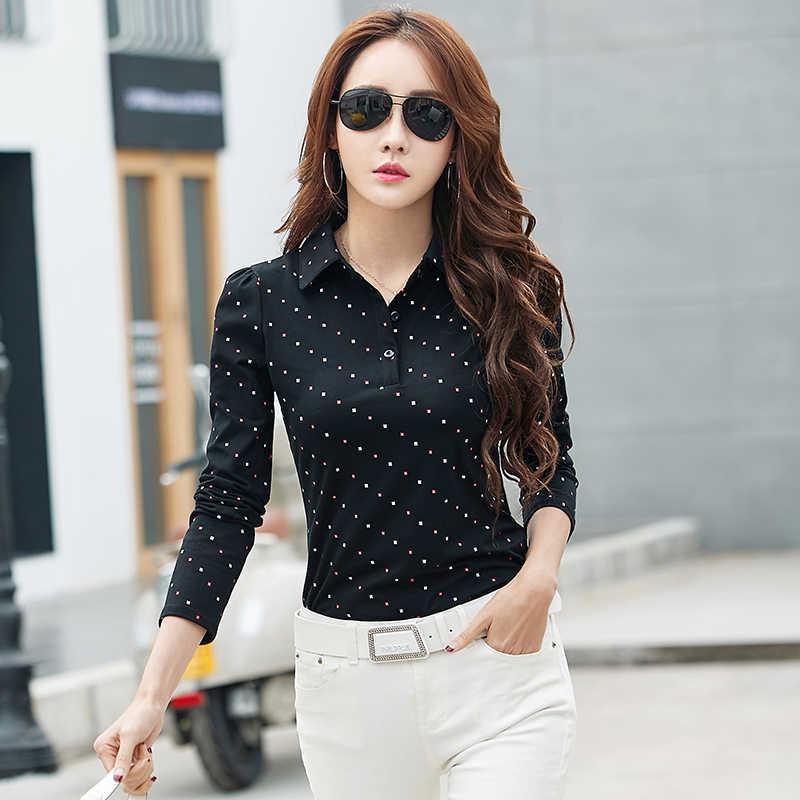 BIBOYAMALL женские блузки 2017 хлопок осень Повседневная Dot OL Блузка Тонкий длинный рукав рабочая одежда Blusas топы рубашки плюс размер черный