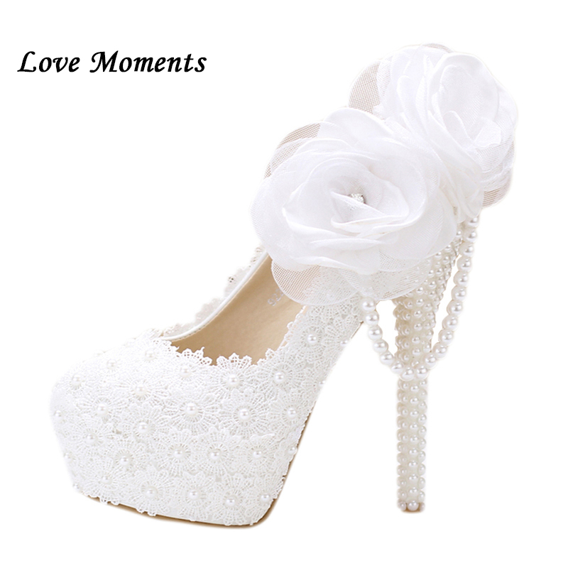 New sweet white lace flower wedding shoes high heel women party shoes performance platform shoes bridal pumps Ladies shoes