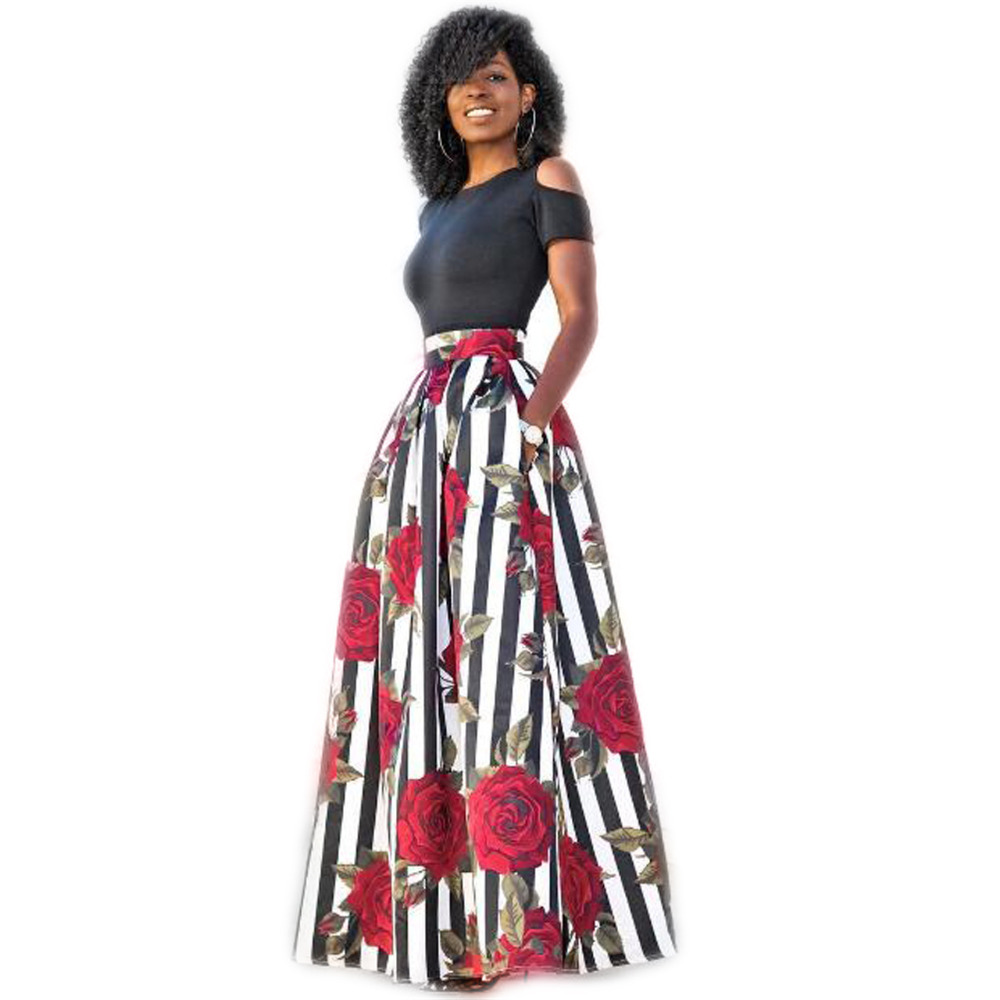 111f7bccc0b Traditional African Clothing Cold Shoulder Dress Short Sleeve Red Rose Printed  Two Piece Sexy Long Dresses