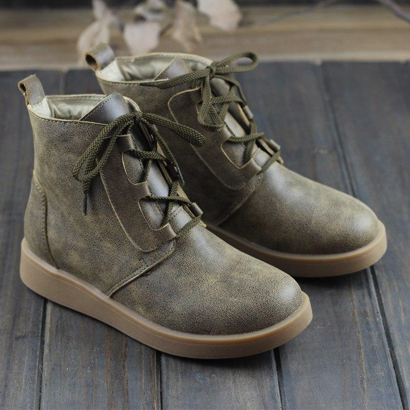 여자의 겨울 부츠 봉 제 여성 구두 100% 정품 가죽 숙 녀 발목 부츠 레이스 신발 여자 (H168 3)-에서앵클 부츠부터 신발 의  그룹 1