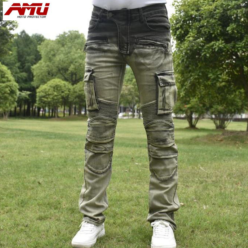 Authentic AMU fashion trend motorcycle riding jeans retro style jeans R8 сосо amu 500