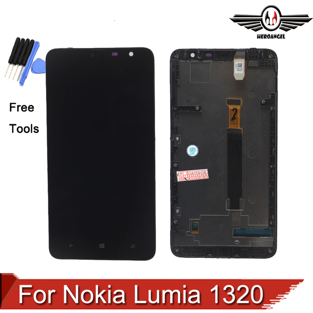 Para nokia lumia 1320 tela lcd com digitador da tela de toque com a montagem do quadro