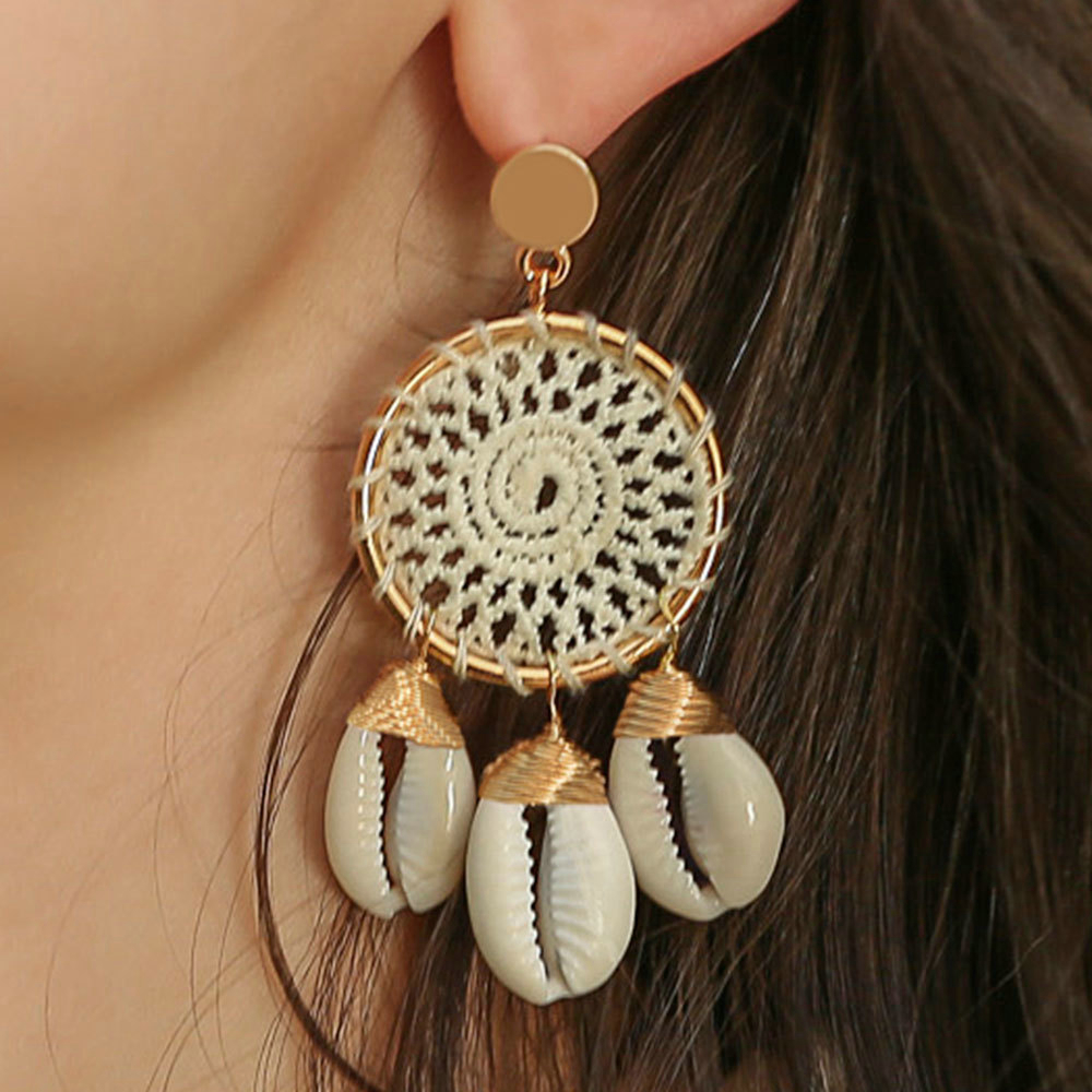 Bohemia Style Sea Shell Earrings For Women Gold Color Metal Shell Cowrie Statement Earrings 2019 Summer Beach Jewelry