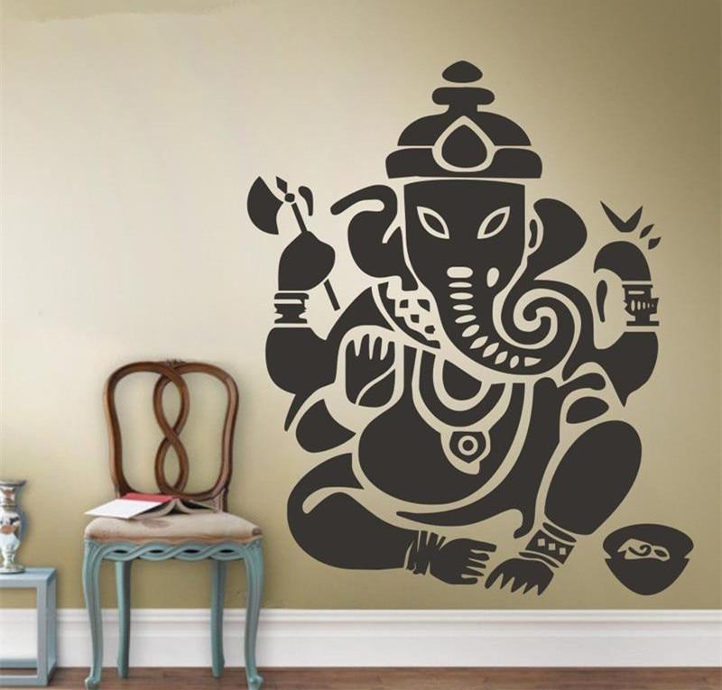 Wall Window Decal Sticker Elephant Ganesh God Lotus Flower Yoga Hindu Namaste Yoga Studio Bedroom 987b