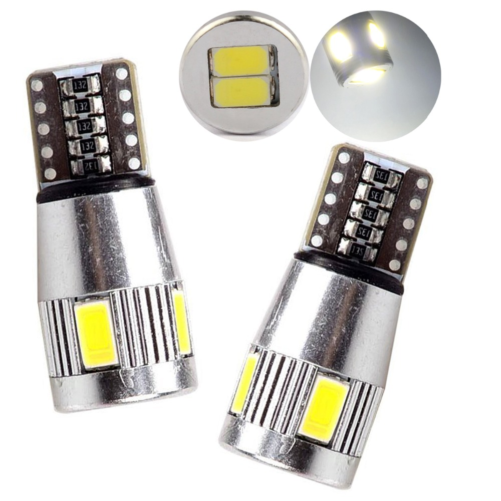 10X T10 Canbus 6 SMD 5730 LED Aluminum W5W 6SMD 5630 194 168 W5W Can bus Error Free Car Auto Led License Wedge Lights DC 12V 2 x t10 w5w error free circuit board 168 194 5630 5730 6smd 6 smd led car canbus replacement light lamp bulbs 12v blue white