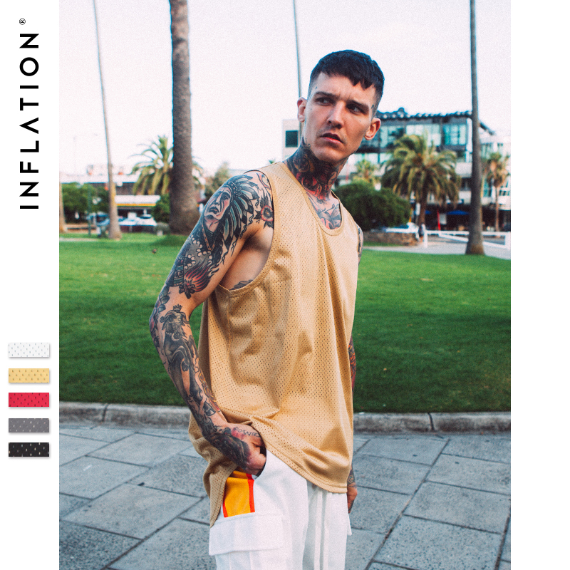 INFLATION Oversized Tank Top Mesh Casual Dress Sleeveless for men Longline vest Mens hip hop streetwear men brand clothing 8179S sleeveless for men dress sleevelesstank top mesh - AliExpress
