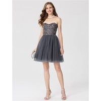 TS Couture A Line Princess Sweetheart Short Mini Lace Tulle Cocktail Party Dress With Crystal Detailing