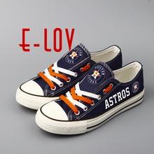 E LOV 2018 New Design Astros Blue Canvas font b Shoes b font Houston Low Top