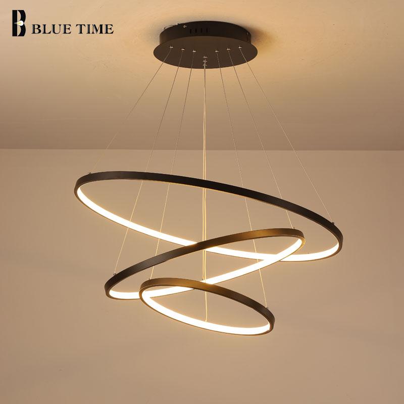Lampara Colgante moderne LED lustre suspension lampe anneaux plafond lustre éclairage pour salon salle à manger luminaires