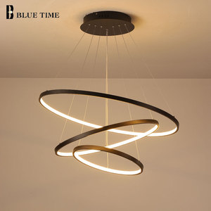 Lampara Colgante Modern LED Chandelier Hanging Lamp Rings Ceiling Chandelier Lighting For Living room Dining Room Light Fixtures(China)