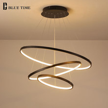 Купить с кэшбэком 40CM 60CM 80CM 100CM Modern Chandelier Lights 4 Circle Rings Design Led Chandelier Lamp For Dining Room Indoor Lighting Fixture
