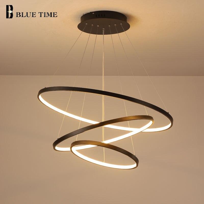 Lampara Colgante Modern LED avize asılı lamba yüzükler tavan avize aydınlatma oturma odası yemek odası için aydınlatma armatürleri