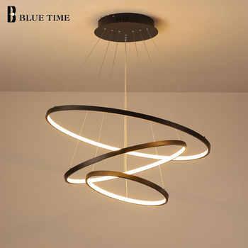 Lampara colgante moderno led lustre pendurado lâmpada anéis de iluminação do candelabro teto para sala estar jantar luminárias