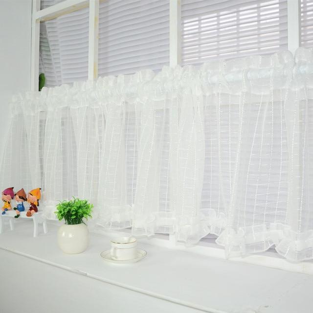 neue wei e kurze vorhang k che gardinen t ll fenster kleine voile fertige cortinas rideaux k che. Black Bedroom Furniture Sets. Home Design Ideas