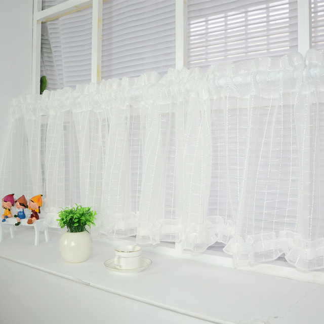 neue wei e kurze vorhang k che gardinen t ll fenster. Black Bedroom Furniture Sets. Home Design Ideas