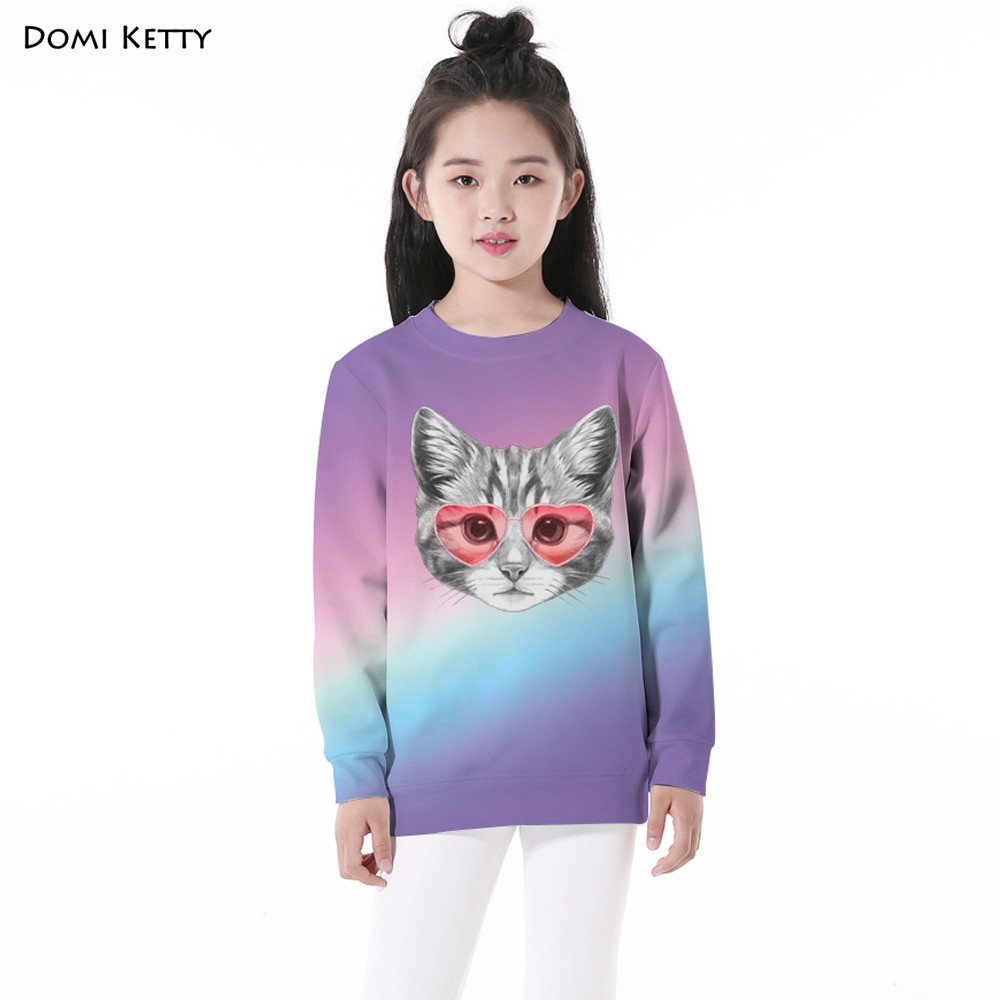 Domi Ketty cartoon children hoodies printed shy cats girls boys long sleeve sweatshirts autumn kids casual pullover clothing