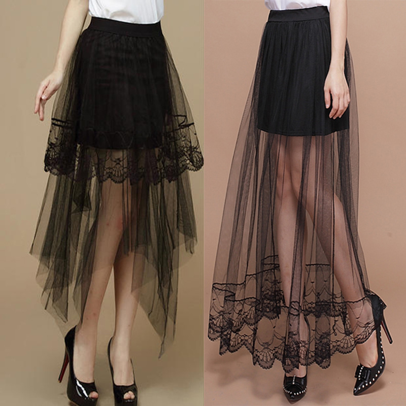 f1bd5eb754 Encaje Sexy Mujer Faldas 2019 nuevo verano moda mujer sección larga falda  para las mujeres Jupe tul corto falda de las mujeres faldas