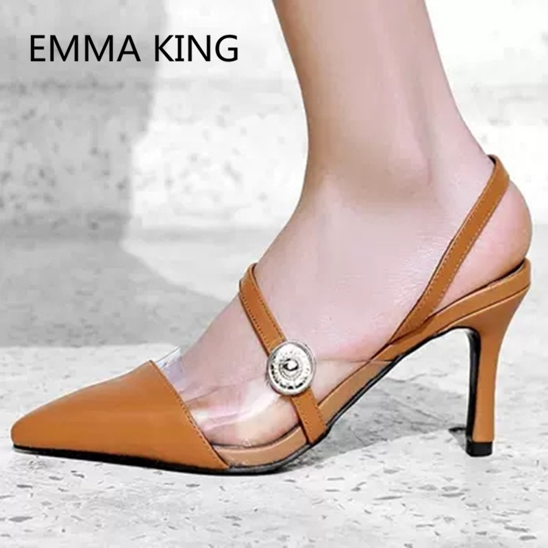 Brown Vintage Leather Women's Pumps Pointed Toe Slip On Ladies PVC Transparent Slingbacks Shoes Woman Sexy Thin High Heels Pump