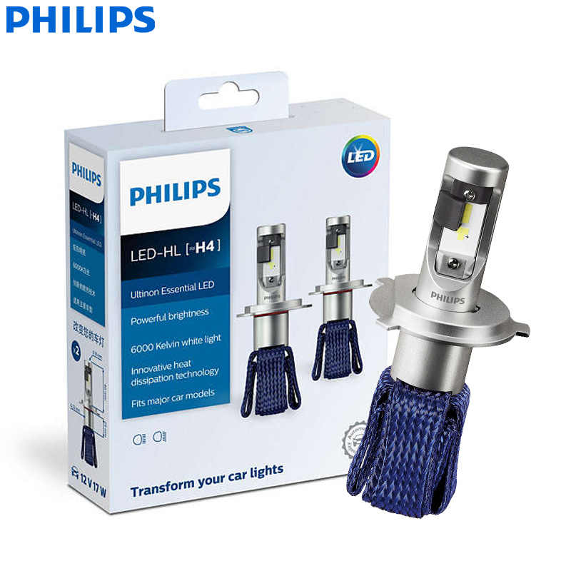 Philips Ultinon Essential LED 9003 HB2 H4 12V 11342UEX2 6000K Bright Car LED Headlight Auto HL Beam ThermalCool (Twin Pack)