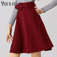 YOFEAI 2018 Women Skirt Fashion Autumn Winter Wool Skirt For Women High Waist Casual Warm Knee-Length Ladies Office Skirt 2