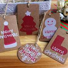 100pc New Handmade Christmas Tags Snow Flake Red Color DIY  Paper Hang Xmas Label Wedding Party