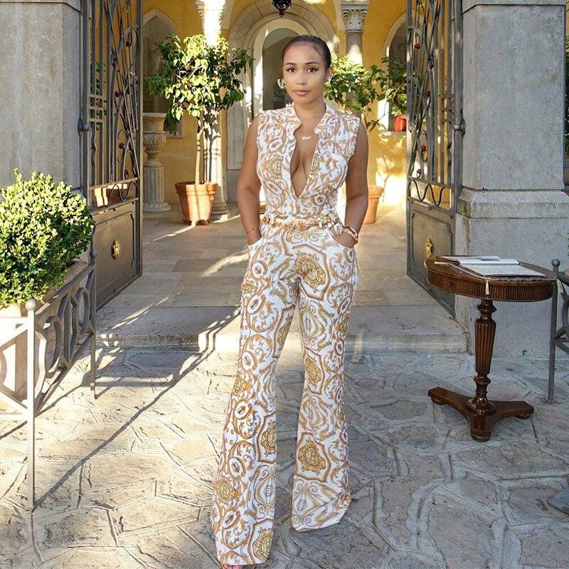 2020 Summer Women Jumpsuit Romper Yellow Floral Jumpsuits Long Pants Elegant Vintage Bodies Ladies Sexy V Neck Combinaison Femme