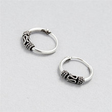 925 Sterling Silver Thai Silver Retro Stripe Decorative Pattern Ear Ring Fashion