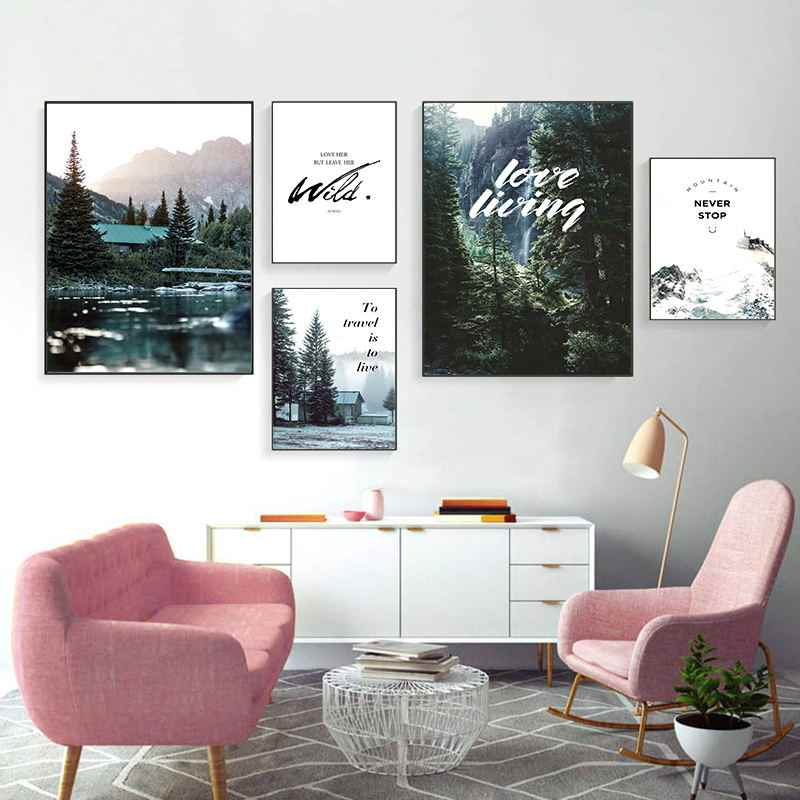 Forest Tree House Landscape Canvas Poster Nordic Style Beach Wall Art Print Painting Decoration Picture Scandinavian Home Decor