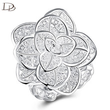 Unique Infinity Flower Shape Design Wedding Ring Finger Beautiful Crystal 585 White Gold Color Accessories Jewelry Women h46