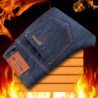 Odinokov Zipper Fly Slim Winter Fleece Warm Jeans Men S Classic Jeans Straight Full Length Casual