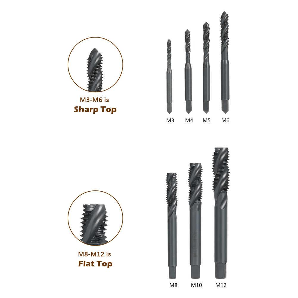 7Pcs//Set HSS Nitriding Coated Metric High Speed Steel Right Hand Spiral Flute M3-M12 Screw Thread Tap